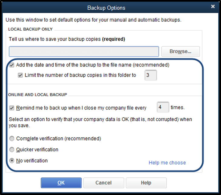 Select additional options as needed